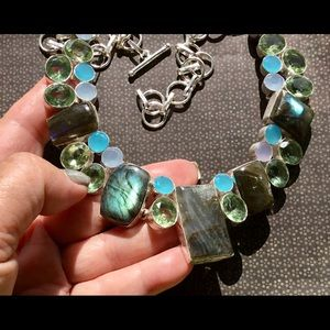 Labradorite Apatite Chalcedony Gemstone Necklace